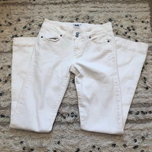 White flared Paige jeans.